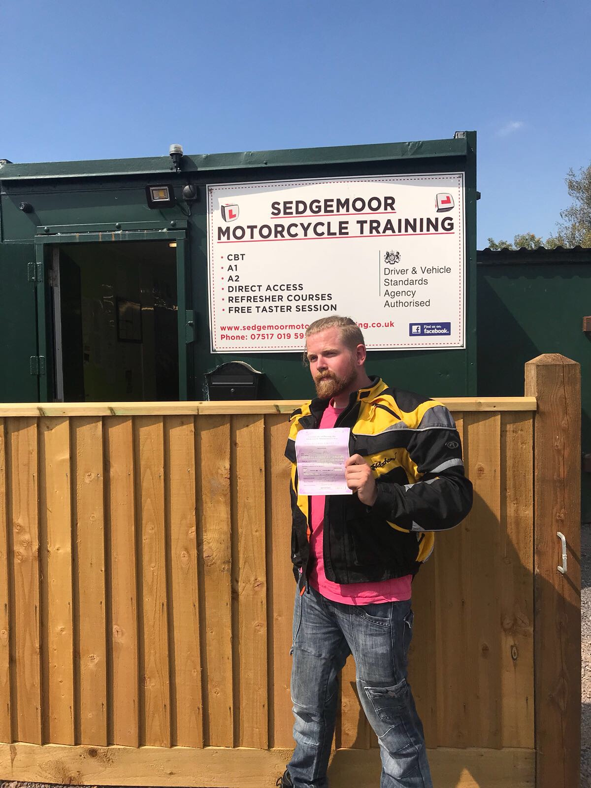 Student with pass certificate at Sedgemoor Motorcycle Training