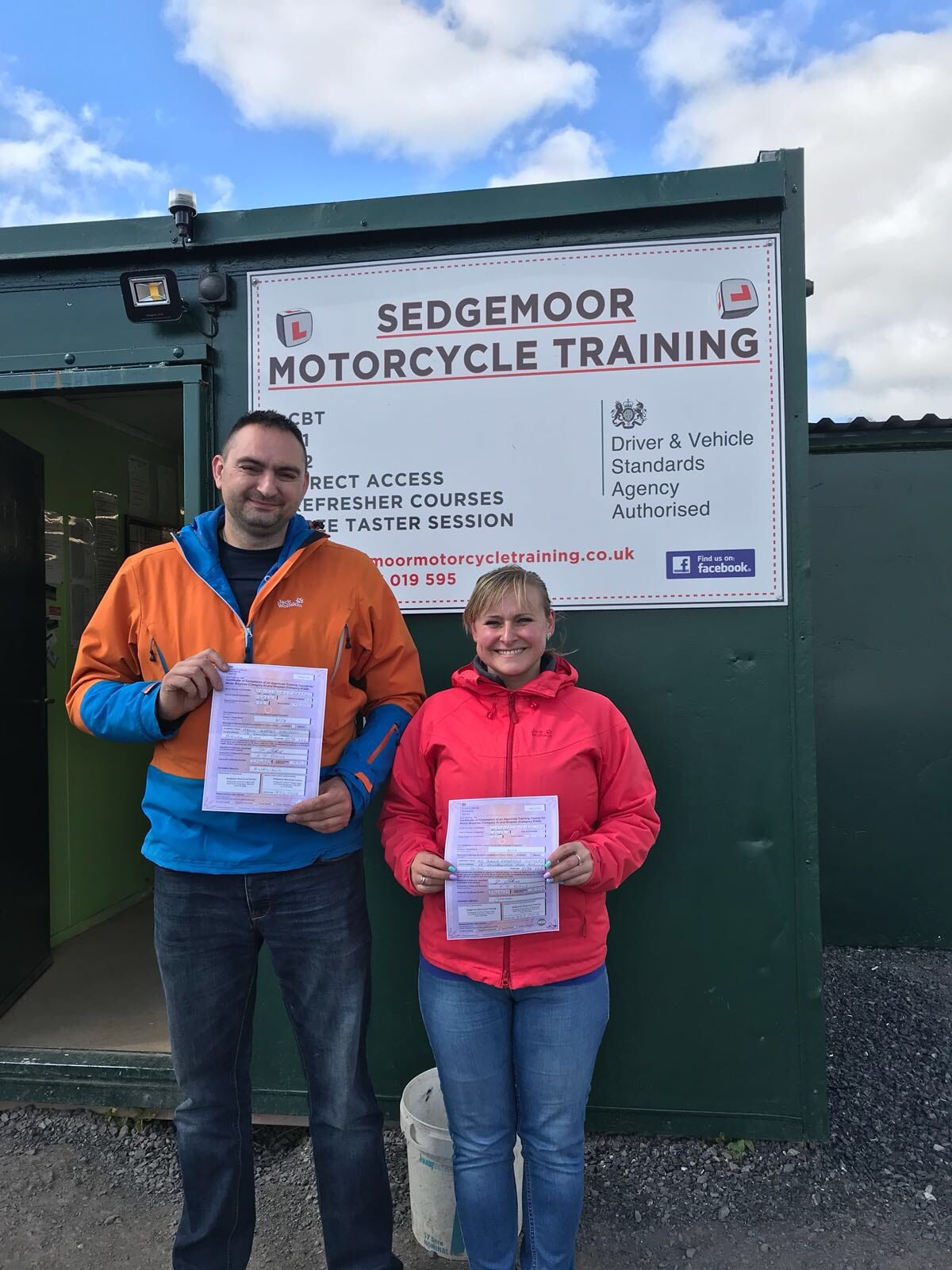 Happy customers at Sedgemoor Motorcycle Training in Bridgwater, somerset