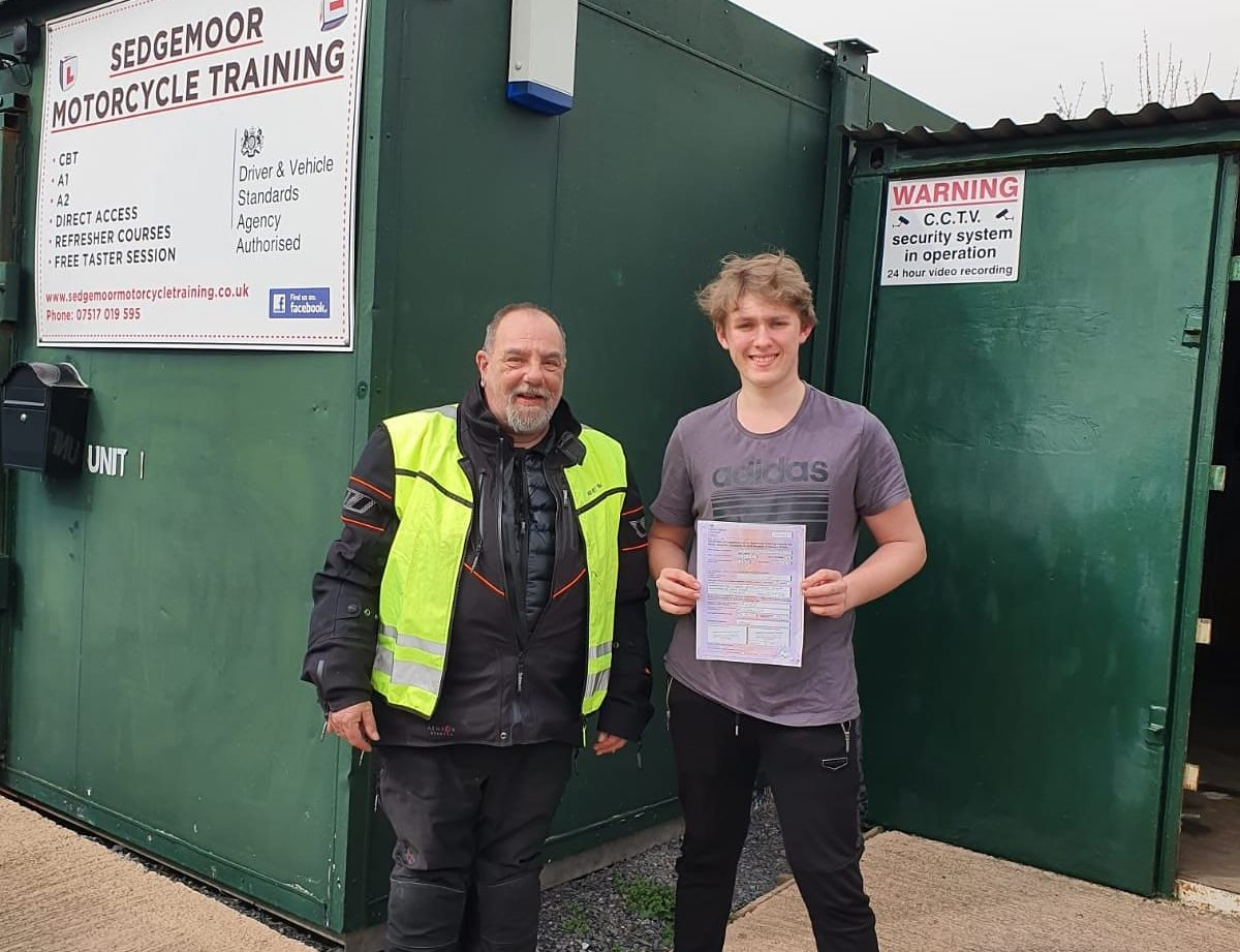 charlie passes motorbike test