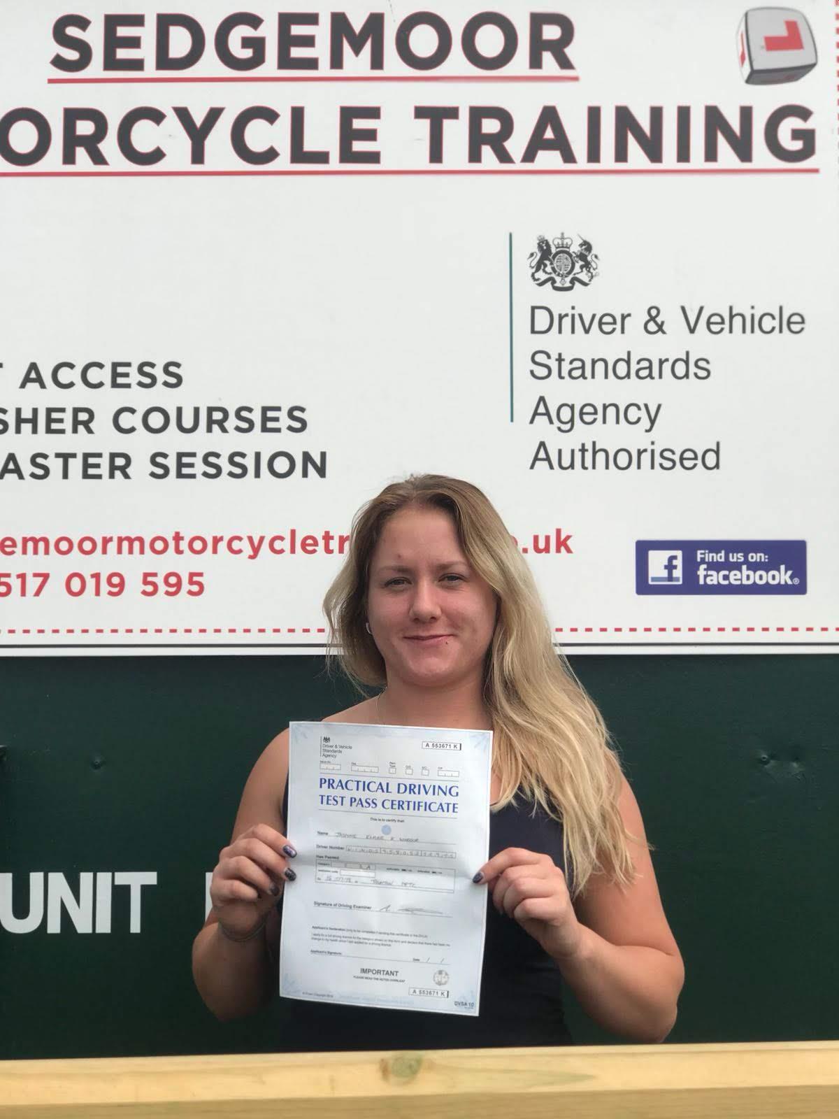 Direct Access Scheme pass for Jasmine from Burnham-on-Sea, Somerset