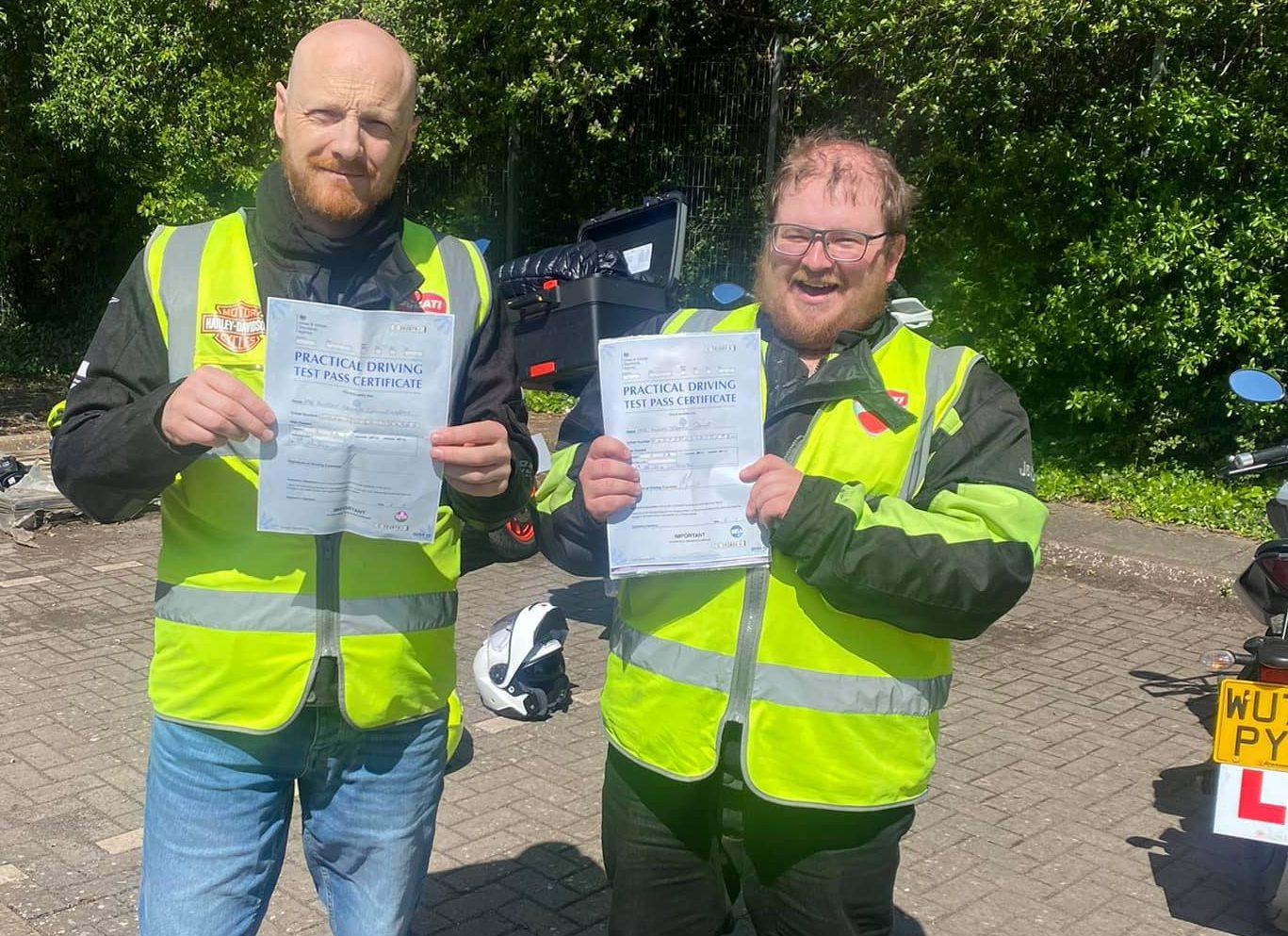 happy riders pass motorbike test