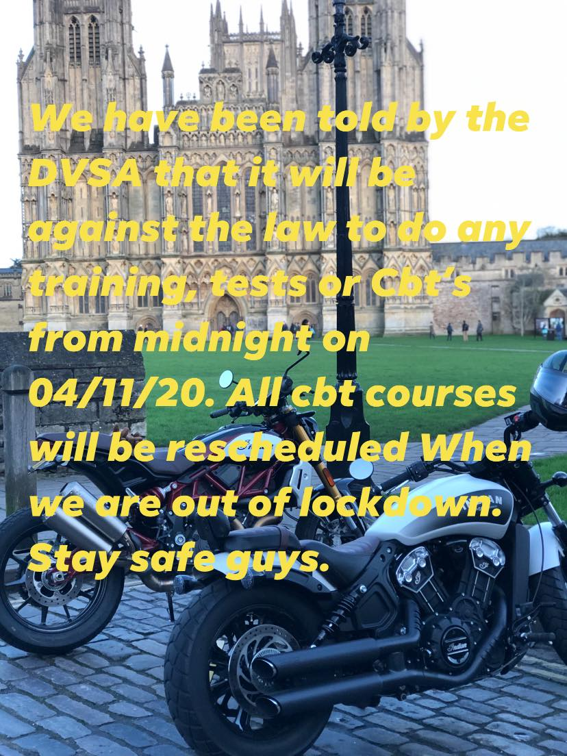Lockdown Stops Motorcycle Training, Tests or CBTs from 4th November 2020